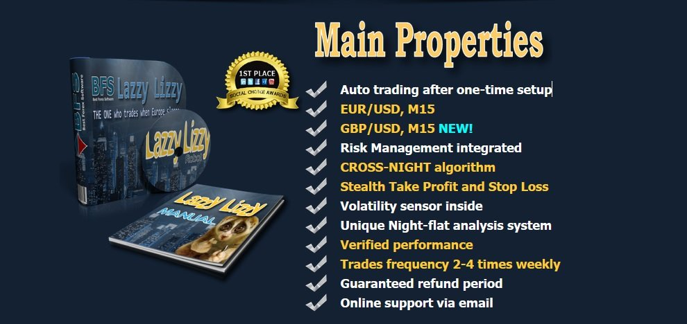 BFS Lazzy Lizzy Robot Review - Night Flat Forex Expert Advisor For Metatrader 4 (MT4) Platform And FX Trading Bot Created By BFS Best Forex Software Group