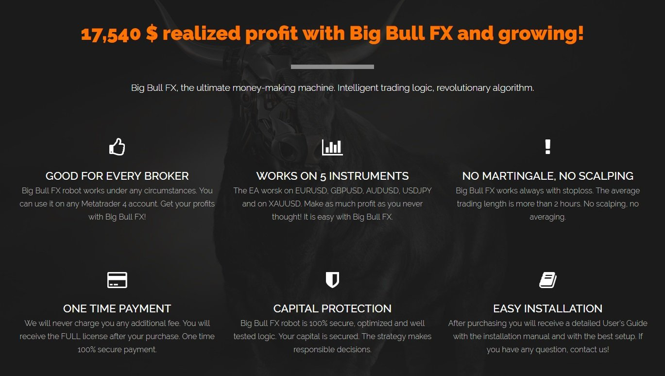 Big Bull FX EA Review - Best Forex Expert Advisor For Metatrader 4 Terminal And Revolutionary Profitable FX Trading Robot developed by Walter Sandy