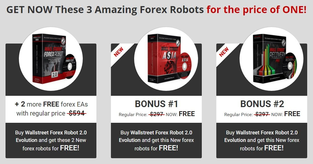 WallStreet Forex Robot 2.0 Evolution PLUS 2 More FREE Forex EA's - WallStreet Recovery PRO EA And WallStreet ASIA Robot
