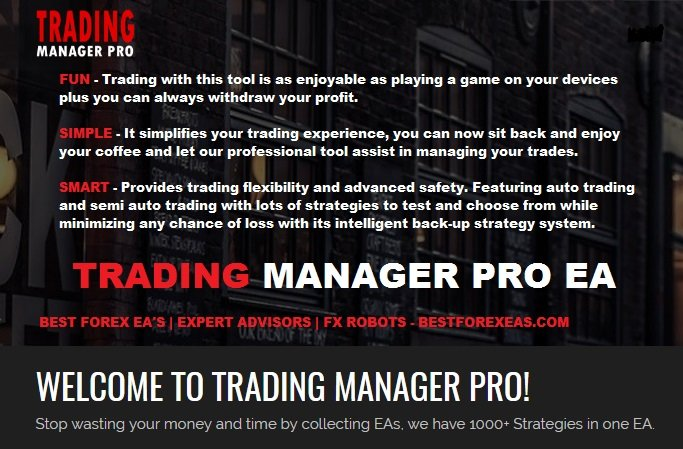 Trading Manager Pro EA Review - All In One Forex Expert Advisor For Metatrader 4 (MT4) Platform And Profitable FX Robot Including Free Bonus Sets Like DeltonPro EA, Sniper Suite EA or Spartan Bolt EA